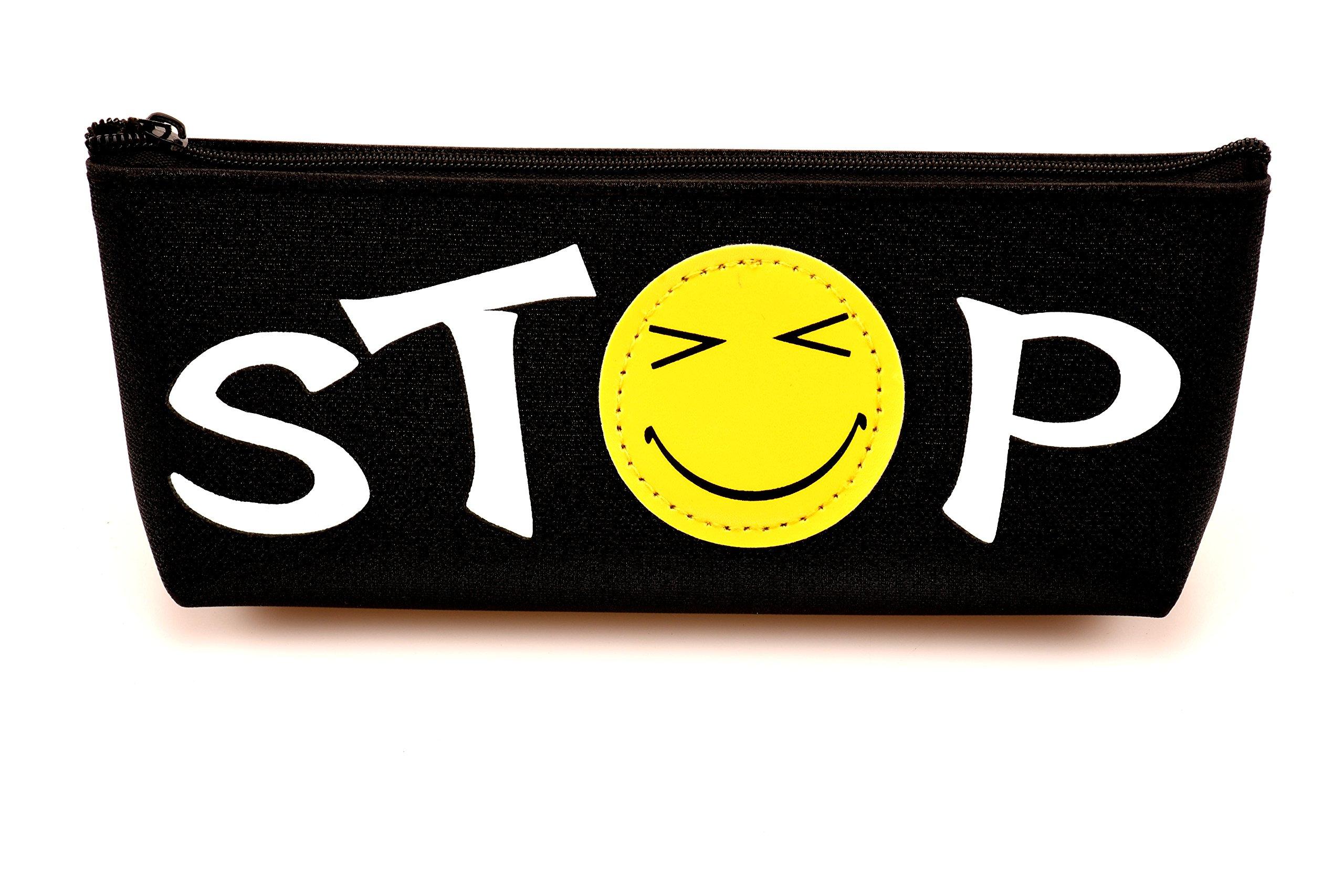SLD emoji émoticône crayon Stylo Housse étui sac avec fermeture éclair Noir, visage souriant Expression papeterie Box