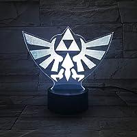 Lampe LED Vidéo Jeu The Legend of Zelda Triforce Hyrule Logo Changa Couleur USB Veilleuse et Décoration