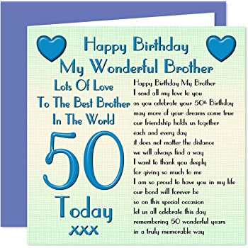 Brother 50th Happy Birthday Card