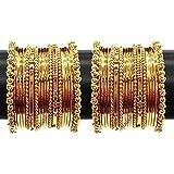 YouBella Jewellery Gold Plated Brass Bracelet Bangle Set for Women (Set of 2)