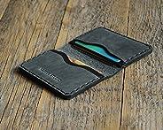 Noir et gris portefeuille en cuir pour carte de crédit, argent comptant ou titulaire d'identification. Pochette unisexe style