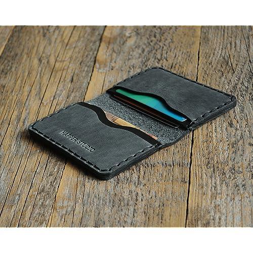 Grigio e Nero portafoglio in pelle. Porta Carte di credito, contanti o carta d'identità. Tasca Unisex in stile rustico. Custodie per tessere.