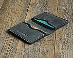 Noir et Gris Portefeuille en cuir pour Carte de crédit, argent comptant ou titulaire d'identification. Pochette unisexe...