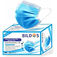 Bildos Melt-Blown Fabric 3 Ply Disposable Surgical Face Mask with Nose Clip (Blue, Without Valve, Pack of 100) for…