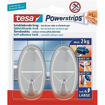 Tesa Selbstklebender Haken Bis 2kg Wieder Ablösbar Oval Chrom 2