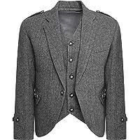 Star Leather Tweed Crail Highland Kilt Jacket and Waistcoat Scottish Wedding Dress
