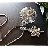 Ciondolo foglia d'acero Catena ARGENTO STERLING collana di tarassaco e confezione regalo - Ciondolo antico collana di…