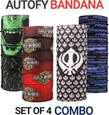 Autofy Unisex Multipurpose Freesize Bandana Combo Lycra Headwrap Riding Hair Band Motorcycle Face Mask for Men and Women (Set of 4)