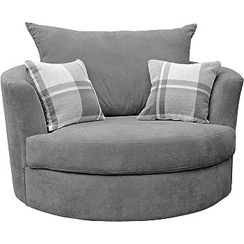 Large Swivel Round Cuddle Chair Fabric (Grey)