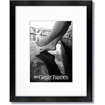One 11x14 Black Wood Picture Frame And Glass With Single White Mat