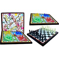 Goldiluxe Wooden Board 12x12 Inch 1 (Ludo, Snakes & Ladders) & 1 (Ludo, Chess) (2 in 1 Games) Set of 2 with 2 Set of…