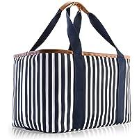 Selinchen® - Einkaufskorb | Hochwertige Einkaufstasche faltbar und mit PU-Ledergriff | Ideal als eleganter Picknickkorb…