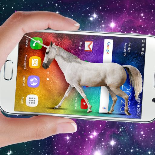 Einhorn auf Handy-Display: Wiehern Witz