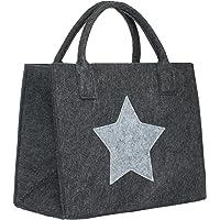 Brandsseller Filztasche Stern Einkaufstasche Shoppingbag Freizeittasche 35x20x28 cm Anthrazit/Hellgrau