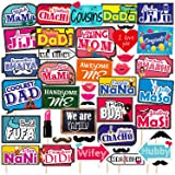 SYGA All Occasion Indian Family Photo Booth Party Props Craft Item for Wedding, Baby Shower, Birthday Multi Color (Set of 41,
