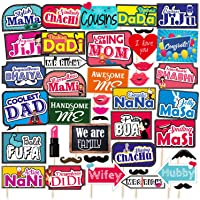 SYGA All Occasion Indian Family Photo Booth Party Props Craft Item for Wedding, Baby Shower, Birthday Multi Color (Set…