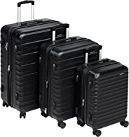 AmazonBasics Set of 3 (55 cm + 68 cm + 78 cm) Black Hardsided Trolley
