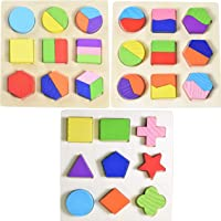 WISHKEY Wooden Colorful Math Geometry Shapes Puzzles Board Early Educational Brain Teaser Toys (Set of 3)