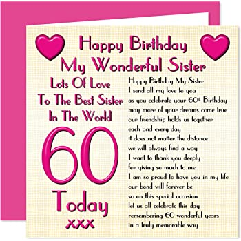 Sister 60th Happy Birthday Card