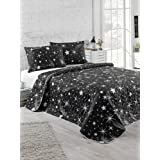 EnLora Home Double Quilted Bedspread Set, 3-piece, Black, 200x220cm