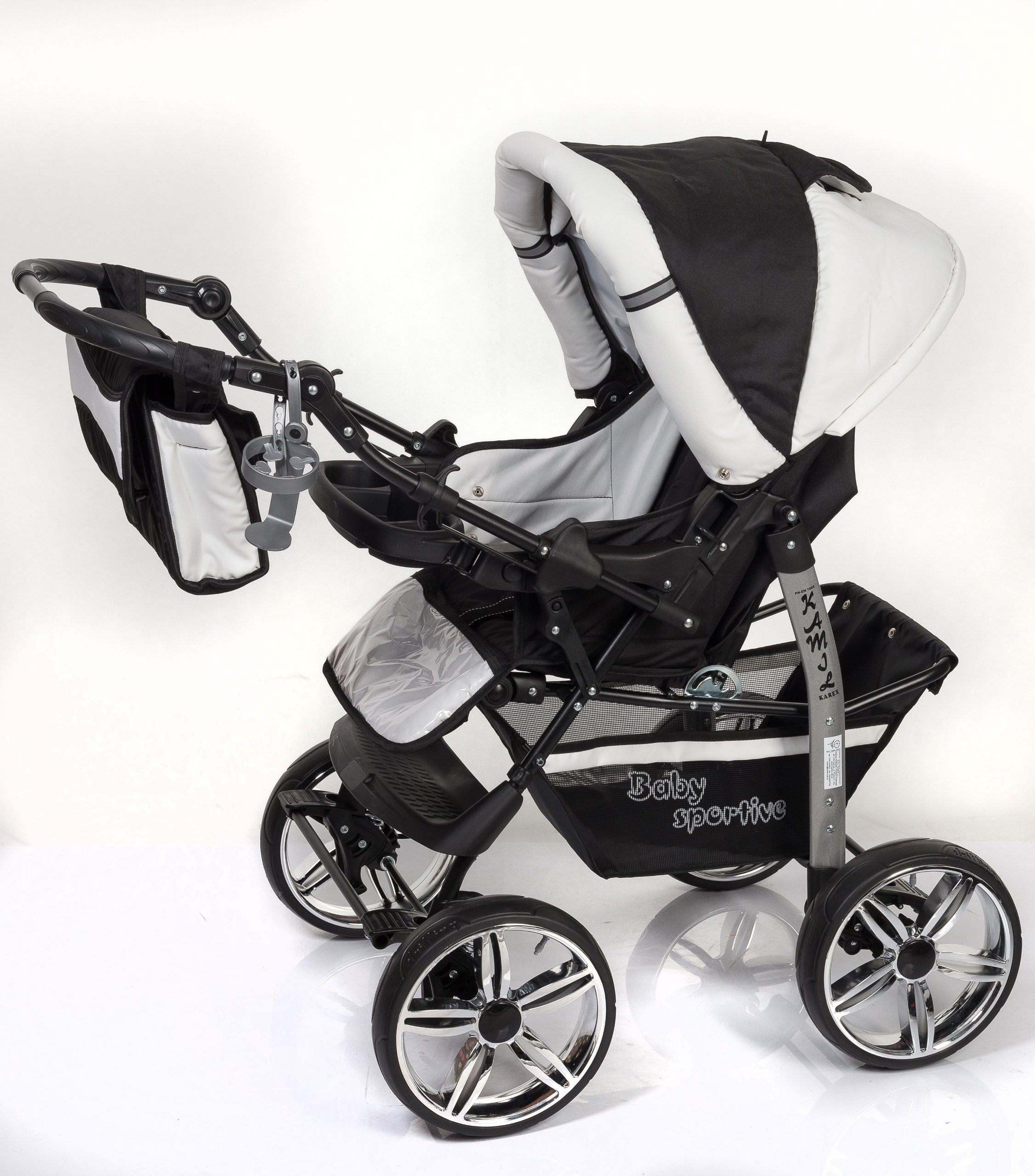3-in-1 Travel System with Baby Pram, Car Seat, Pushchair & Accessories, Black & White   5