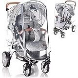 Zamboo universal buggy regnskydd med låsbart fönster - regnskydd barnvagn med dubbel dragkedja för att öppna - transparent, f