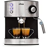 Ufesa CE7240 Macchina caffè espresso, 850 W, Serbatoio estraibile da 1,6 L, 20 bar, 2 opzioni d'uso: Come macchina da caffè c