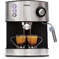 Ufesa CE7240 Espressomaschine, 20 Bar, 850 W, abnehmbarer Wassertank mit 1,6 l , 2-Tassen Funktion, Edelstahl