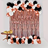 YNS CRAFTS STOCK Happy Anniversary Decoration Set Of 48 Balloon 16 Happy Anniversary Foil Balloon 2 Rose Gold Curtain 30 Blac