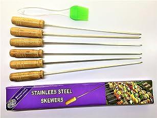 6 & 1 - Skewers- 6 Pcs & Oil Silicon Brush-1 Pcs - Wood handle Skewers & Silicon Brush for Tandoor - barbeque -Skewer13 IN & 8.9 IN Brush -(Rod/ Saliya)