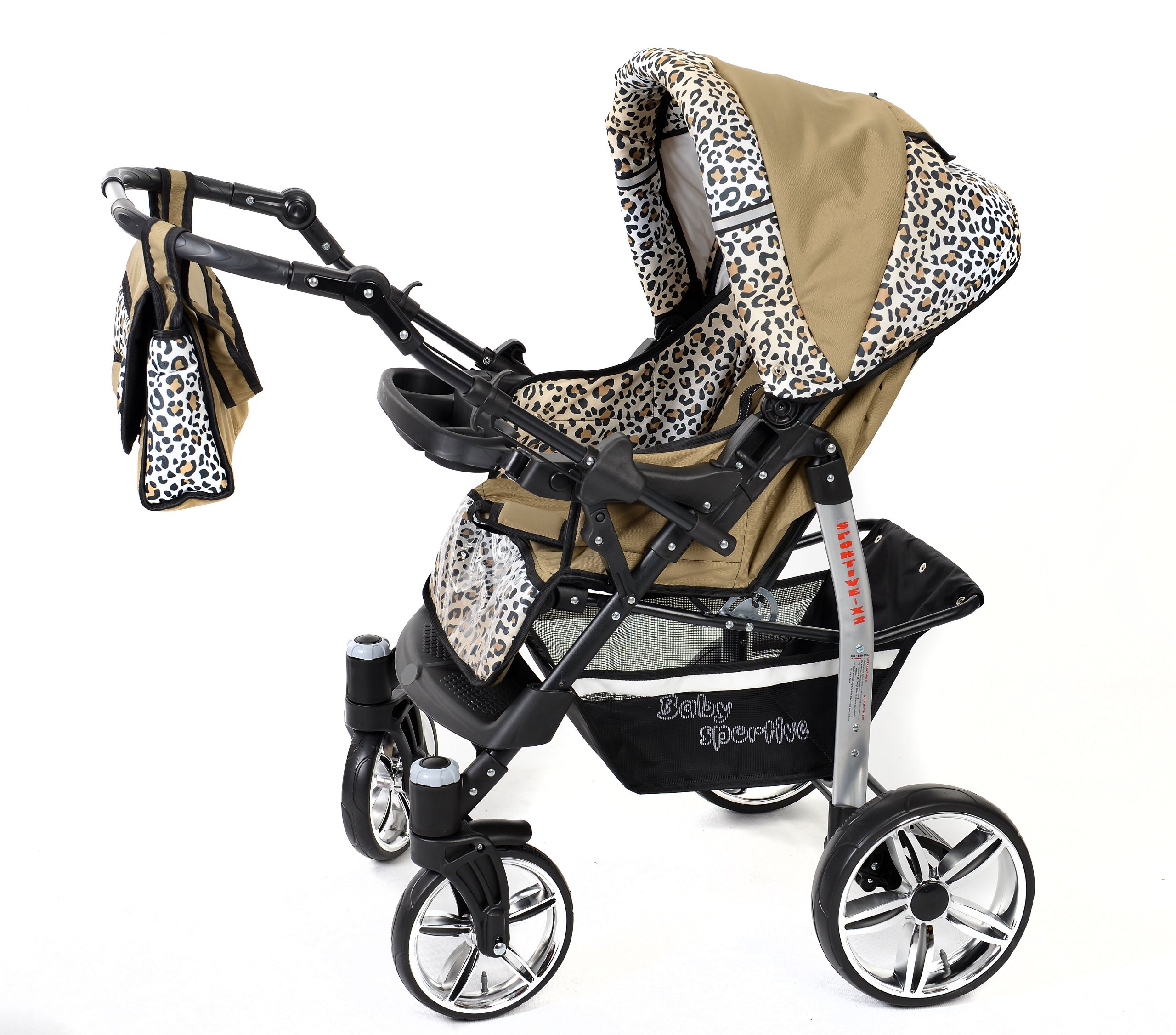 Sportive X2, 3-in-1 Travel System incl. Baby Pram with Swivel Wheels, Car Seat, Pushchair & Accessories (3-in-1 Travel System, Beige & Leopard) Baby Sportive 3 in 1 Travel System All in One Set - Pram, Car Carrier Seat and Sport Buggy + Accessories: carrier bag, rain protection, mosquito net, changing mat, removable bottle holder and removable tray for your child's bits and pieces Suitable from birth, Easy Quick Folding System; Large storage basket; Turnable handle bar that allows to face or rear the drive direction; Quick release rear wheels for easy cleaning after muddy walks Front lockable 360o swivel wheels for manoeuvrability , Small sized when folded, fits into many small car trunks, Carry-cot with a removable hood, Reflective elements for better visibility 4