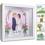 GLÜCKSWOLKE – Hucha Boda I Mr & Mrs Decoracion I Regalo de Bodas I Regalos de Aniversario Boda I 3D Marco de Fotos Grande I W