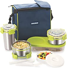 Magnus Lunch Box With Detachable Clip Lock, Leak Proof Containers & Bag, Stainless Steel, 5 Pcs Set