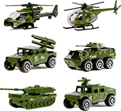 Veicoli in Alluminio pressofuso Militare 6 Pacchetti Assortiti in Lega di Metallo Modelli Militari di Veicolo Giocattoli di Automobile, Giocattolo Piccolo armato, Carro, Jeep, Panzer, Veicoli di Anti-