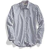 Goodthreads Hombre Camisa de popelín a cuadros con botones en el cuello, de manga larga y ajuste entallado