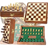 Chess Bazar - Magnetic Travel Pocket Chess Set - Staunton 7 X 7 Inch Folding Game Board Handmade in Fine Rosewood