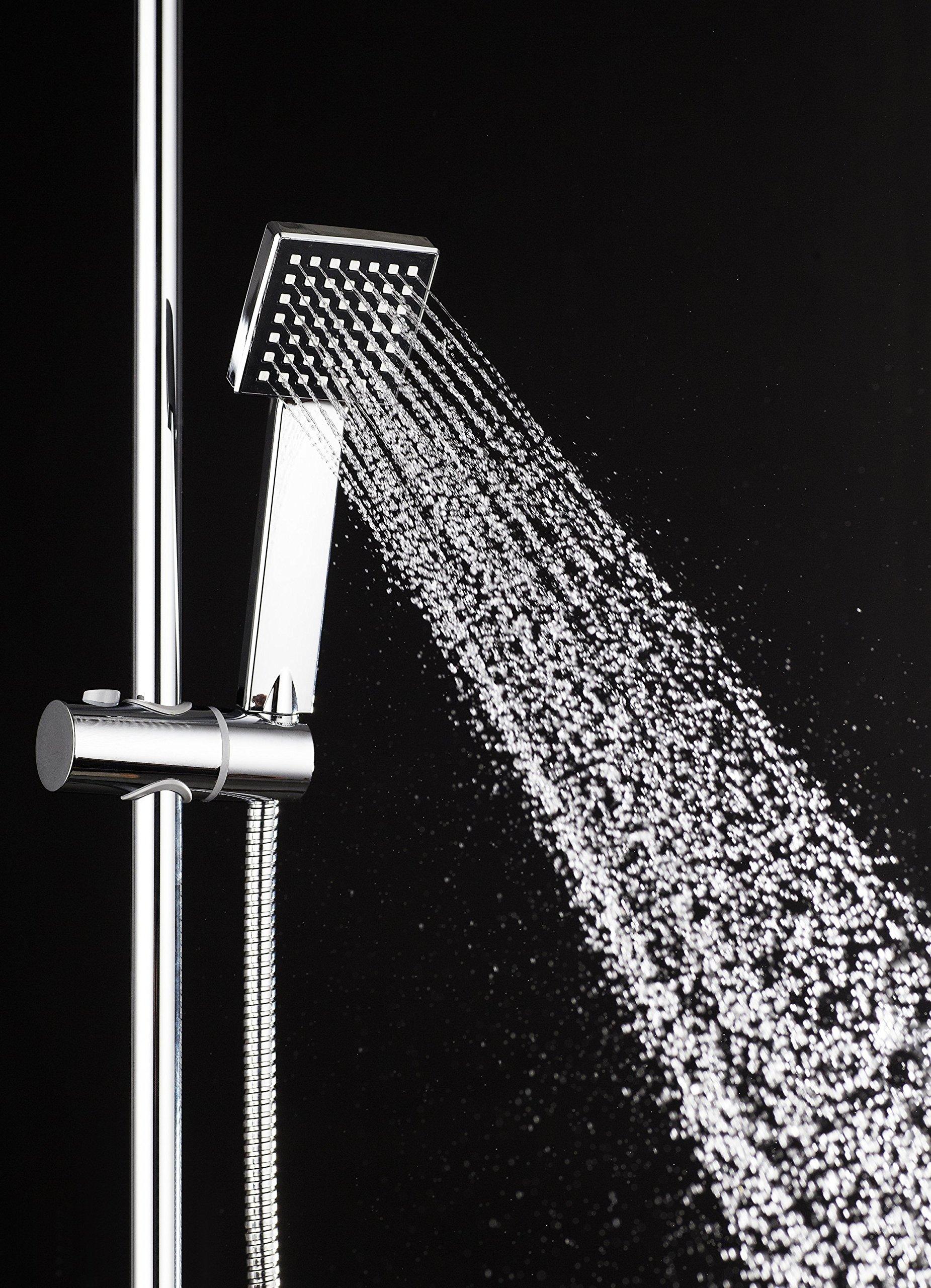 DP Grifería RY-S002 Azabache – Set de ducha cuadrado sin grifo, acero inoxidable, plateado, altura de 98 cm