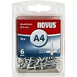 Novus Aluminium klinknagels 6 mm, 70 klinknagels, Ø 4 mm, 1,5-3,0 mm klemlengte, voor non-ijzer metaal, kunststof en leer
