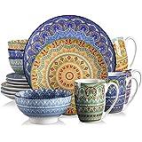 vancasso, Série Mandala, Service de Table en Porcelaine 16 pièces pour 4 Personnes, Assiette Plate, Assiette à Dessert, Bols