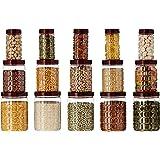 Amazon Brand - Solimo Checkered Airtight Jar Set of 15, 1000 ml, 500 ml and 200 ml, Plastic, Transparent