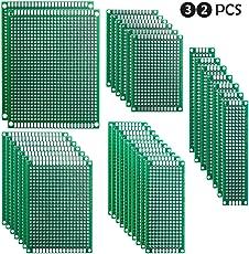 ELEGOO 32pcs Basetta Millefori Scheda Prototipo Forata Doppia Lato Faccia PCB Circuito Stampato Prototype per Arduino 5 Formato [ 2X8 3X7 4X6 5X7 7X9CM ]