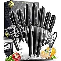 Set De Couteau De Cuisine Professionnel Avec Bloc Couteaux - 13 Inox Couteaux Cuisine Professionnelle et Aiguiseur - 6…