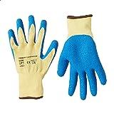 AmazonCommercial Cut-resistant Level 3 B Kevlar & Wrinkle Latex Coated Work Gloves, Mechanics, Gardening, Construction (Yello