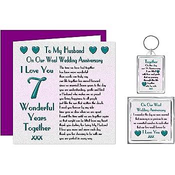 My Husband 7th Wedding Anniversary Gift Set - Card, Keyring & Fridge Magnet  Present - On Our Wool Anniversary - 7 Years - Sentimental Verse I Love You