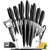 Set De Couteau De Cuisine Professionnel Avec Bloc Couteaux - 13 Inox Couteaux Cuisine Professionnelle et Aiguiseur - 6 Steak