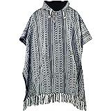 virblatt - mens poncho   100 % cotton   Mexican poncho Baja hoodie hooded poncho pancho sweatshirt drug rug cape wool
