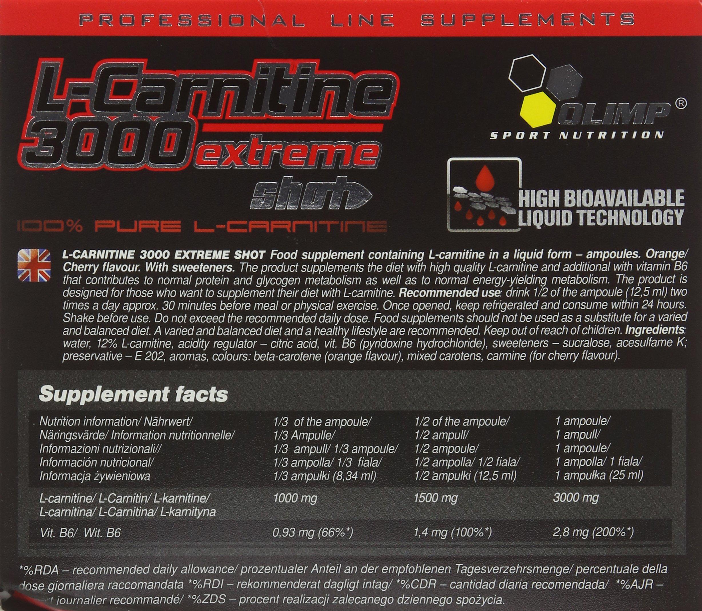 91DUy37FkcL - Olimp Orange 25ml L-Carnitine Forte 3000 Extreme Shot - Pack of 20 Shots