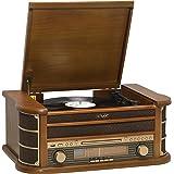 Denver MCR-50 Giradischi design retrò. Radio FM/AM. Lettore CD e cassetta. Altoparlanti da 5 W. Funzione di registrazione Cus