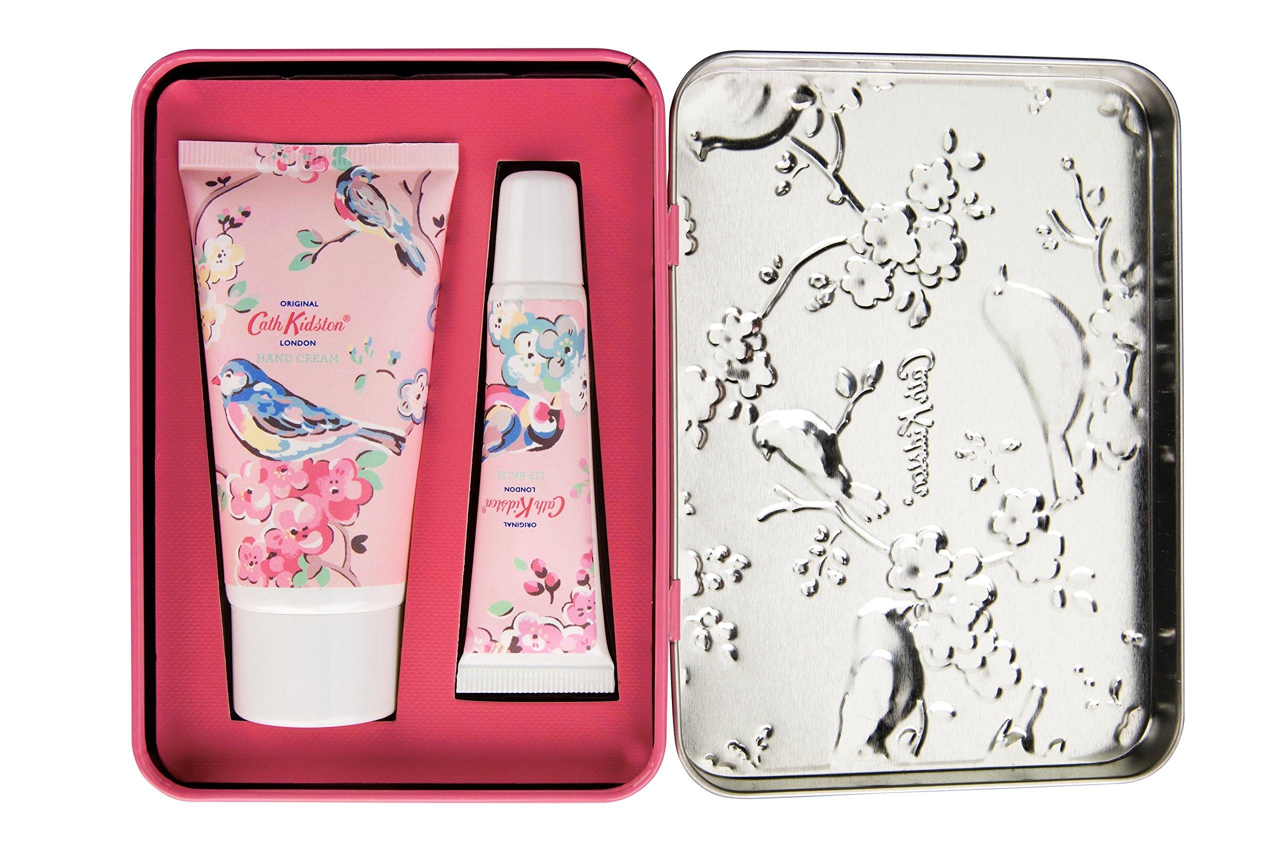Cath Kidston – Juego de bálsamo labial y crema de manos, de trébol blanco y té Matcha, con diseño de aves y flores