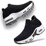 UKUGIJIMA Womens Walking Trainers Ladies Slip on Running Shoes Flat Socks Work Sneakers Athletic Tennis Cross Casual Sports